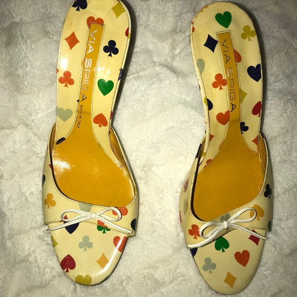 "Via Spiga Shoes - 9M Via Spiga Poker Card 3"" Peep Tie kitten Heel"